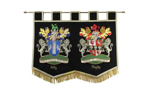 Mini Double Handcrafted Embroidered Banners - Heraldry Shop House of Names, Dublin, Ireland